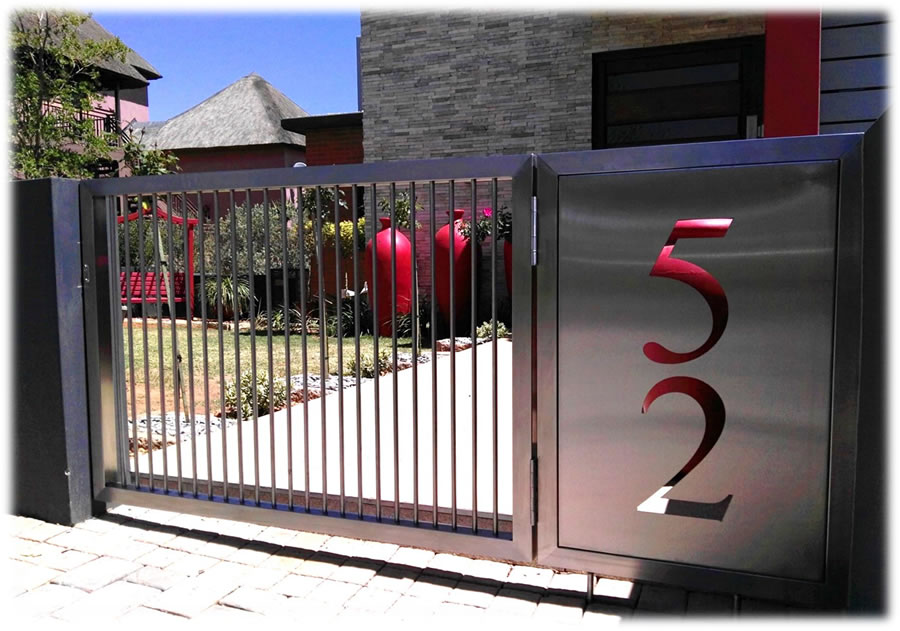 Stainless Steel Gate With Laser Cut House Number Arstel Studio